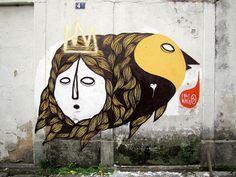 Lelo, 'The Bird + The Queen', Rio - unurth   street art