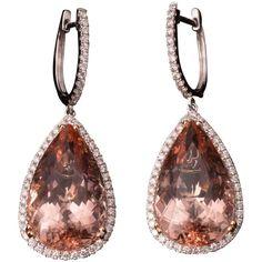 GABRIELLE'S AMAZING FANTASY CLOSET | Magnificent Morganite Diamond Gold Earrings