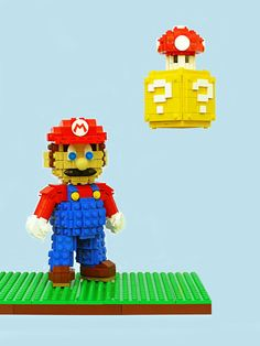 THIS MARIO IS A CHIP OFF THE LEGO BLOCK  Legohaulic's latest commissioned sculpture is this magnificent Super Mario and Question Block with Mushroom.  This highly detailed work of art is a sight to behold.   (Source: Legohaulic's Flickr)  Like video game LEGOs?  Pokemon LEGOs || Portal LEGOs