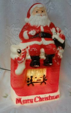 Vintage Dapol Christmas Electric Lighted Blowmold Santa on Fire Place | eBay