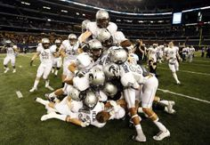 The Denton Guyer High football team piles up on each other after their win in the UIL Class Division I state championship football . Basketball Academy, Basketball Court Size, Basketball Shoes, Championship Football, Football Team, Texas High School Football, Baseball Training, Baseball Equipment, Cool Websites