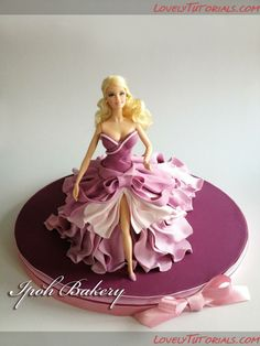 Ipoh Bakery fashion doll cake in purple Girly Cakes, Fancy Cakes, Cute Cakes, Barbie Torte, Bolo Barbie, Barbie Doll, Beautiful Cakes, Amazing Cakes, Bolo Artificial