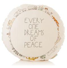 """""""everyone dreams of peace"""" pillow #peace #kids"""