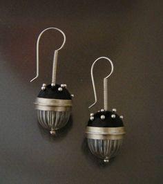 black enamel and crystal ball earrings by JenniferStenhouse, $125.00