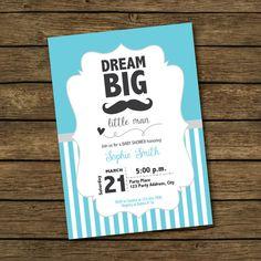Boy Baby Shower Invitation Dream Big Little Man by BashDesigns15