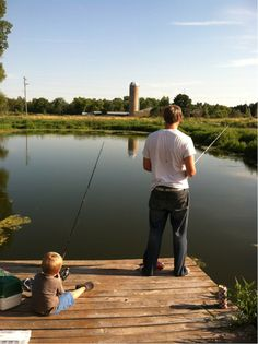 """Fishing with Daddy - actually we had """"spaketti"""" that evening -knew not to rely on bass from the pond!"""