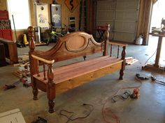 Bench from waterbed frame