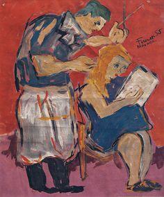 Fikret Mualla (Turkish-French, 1904-1967), 'Woman Barber'