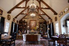 White Ceiling, Wood Beams
