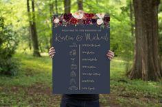 Wedding timeline, Marsala wedding, navy & gold wedding, navy wedding, wedding welcome sign