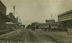Kern 'Street' in Tulare, CA.  (Circa 1914).   This is a view looking west,  near the corner of Kern Ave. and K Street.