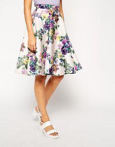 ASOS | ASOS Midi Skirt in Scuba in Pastel Floral Print at ASOS