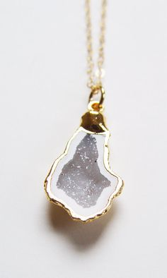 Vanilla Geode Druzy Gold Necklace OOAK by #friedasophie on Etsy