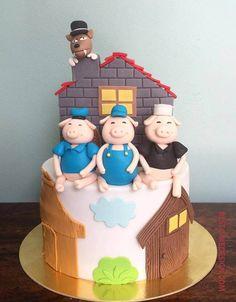 50 Three Little Pigs Cake Design (Cake Idea) - October 2019 Pig Birthday, Third Birthday, Birthday Parties, Cake Decorating Designs, Cool Cake Designs, 30 Cake, Pig Party, Three Little Pigs, Farm Theme