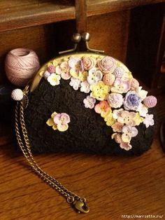 Украшение и декор предметов цветочками крючком (7) (480x640, 176Kb) Lace Purse, Crochet Coin Purse, Crochet Pouch, Crochet Purses, Crochet Flowers, Crochet Lace, Embroidery Purse, Crochet Square Patterns, Crochet Handbags