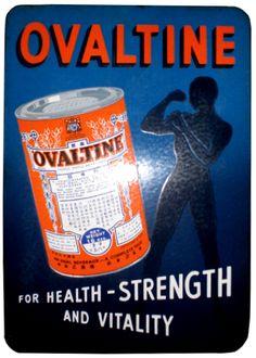 Ovaltine Retro Ads, Vintage Advertisements, Ovaltine, Cat Memorial, Old Signs, Vintage Signs, Strength, Advertising, Enamel