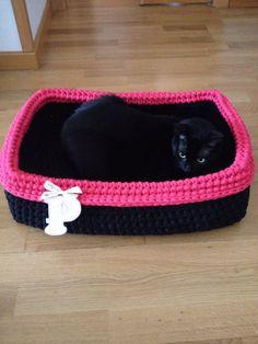 Cesta de trapillo, cama para gatos!! Crochet Dog Sweater, Knit Or Crochet, Crochet Stitches, Crochet Patterns, Gato Crochet, Cotton Cord, Pet Furniture, Dog Diapers, Crochet Diagram
