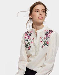 3baf07d5cd3 Joules Georgina Womens Pop Over Shirt Floral Embroidery