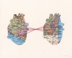 Map of 2 Hearts: Reminds me so much of an art project I did in college, which is now decorating my sister's SF apartment. Original listing (www.etsy.com/...)
