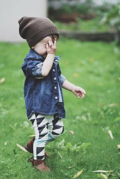 denim shirt, patterned leggings, and a knit cap - cute fall look for kids