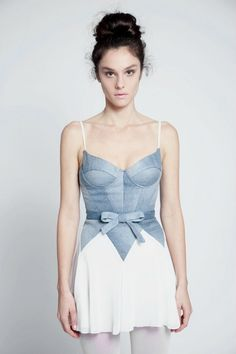 Sweet baby blue bodice (and bow!) on this dancin' dress.