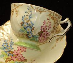 AYNSLEY Artsy Deco Fleurr Linen simplyTclub Tea cup and saucer