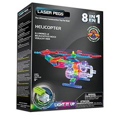 Laser Pegs 8 in 1 Helicopter Building Set Sound Activated Light Up Gift Toy Base Building For Kids, Building Toys, Lego Presents, Toddler Toys, Kids Toys, Helicopter Kit, Cool Laser, 6 Year Old Boy, Top Toys