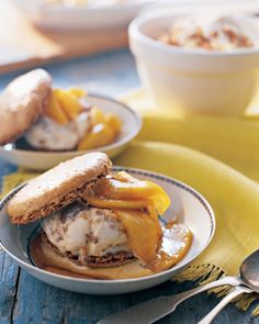 In these individual desserts, disks of meringue are flavored with a mix of walnuts and cinnamon and then used to sandwich ice cream. A warm sauce of honey and cooked apples blends in with a scoop of vanilla as it melts. Passover Desserts, Passover Recipes, Passover Feast, Passover Food, Funnel Cakes, Frozen Desserts, Summer Desserts, Frozen Treats, Summer Treats