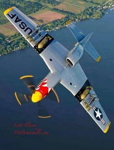 P 51 wing over Aircraft Photos, Ww2 Aircraft, Fighter Aircraft, Military Aircraft, Fighter Jets, Photo Avion, P51 Mustang, Ww2 Planes, Vintage Airplanes