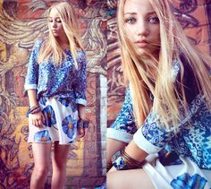 Stradivarius T Shirt, Vintage Skirt, Stradivarius Bracelets - Blue flowers - Aksinya Air