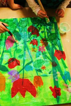 """Studio Kids - Children's Art Classes in Ballard, Seattle: Spring Fling's Almost Here colorful """"Impressionist Gardens"""" by collaging tissue paper onto canvas. Spring Art Projects, Spring Crafts, Kids Art Class, Art For Kids, Art Children, Kid Art, Children Art Projects, Art Project For Kids, Collaborative Art Projects For Kids"""
