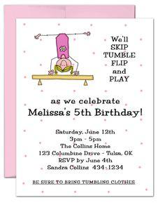 10 LITTLE GYMNAST GYMNASTICS Birthday Party Invitations