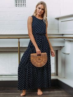 Vintage Polka Dot Dress Women Button Summer Dress Long O Neck Maxi Dress Sleeveless Vestidos Streetwear Plus Size Maxis, Polka Dot Maxi Dresses, Dot Dress, Plus Dresses, Casual Dresses, Long Dresses, Dress Long, Vestido Dot, Streetwear