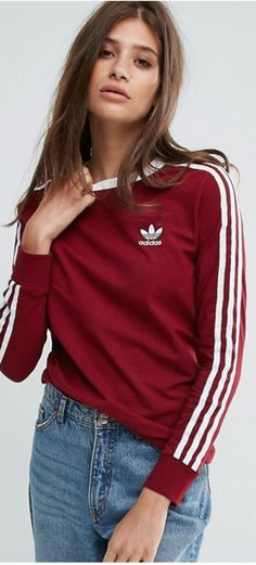 Long sleeved maroon top from Adidas. Perfect casual top for fall