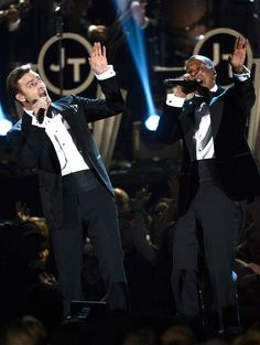 """Justin Timberlake, left, and rapper Jay-Z perform """"Suit And Tie"""" at the Grammys. (Photo: Kevork Djansezian / Getty Images) #Grammys"""