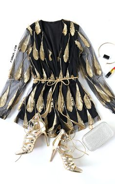 Black Feather Detail Deep V Neck Self Tie Romper with golden lace up heels from romwe.com