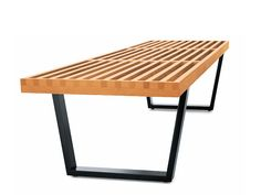 Wooden bench NELSON BENCH by Vitra | design George Nelson