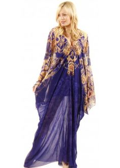Party 21 Chain Print Blue Silk Kaftan Dress - need this for my holiday