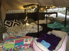 Built a fort filled with pillows and Christmas lights then slept in it. Build A Fort, Christmas Lights, Sleep, Pillows, Building, Christmas Fairy Lights, Buildings, Cushions, Pillow Forms