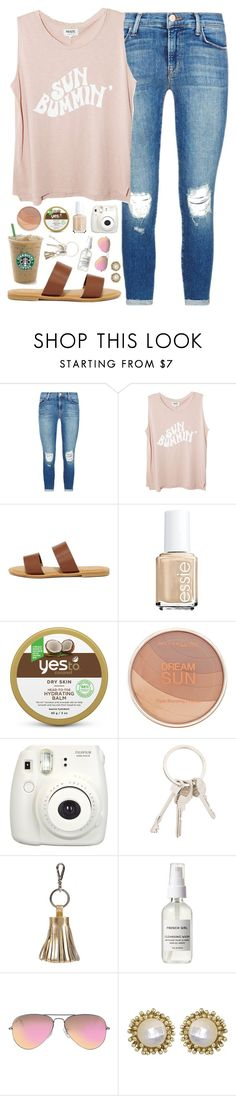 """sun bummin'"" by sophie-dye ❤ liked on Polyvore featuring J Brand, Bamboo, Essie, Yes To, Maybelline, Fujifilm, Givenchy, ILI, Ray-Ban and Kendra Scott"
