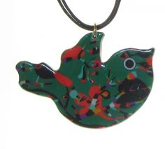 4161-3 - Green Floral Bird Pendant on Cord originjewelry.net