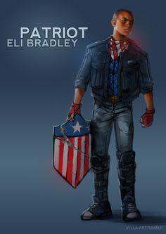 Grandson of the Black Captain America (Isaiah Bradley) Eli Bradley: Patriot - - Young Avengers Marvel Comics, Heros Comics, Marvel E Dc, Marvel Comic Universe, Marvel Heroes, Marvel Cinematic Universe, Comics Universe, Black Characters, Comic Book Characters