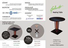 Vyhřívaný stolek Galavito Heating Table a jeho technická specifikace