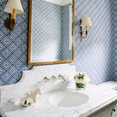 wallpaper, brass mirror