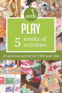5 printable weeks of FUN activities planned out specifically for two year olds. 35 activities designed especially for your two year olds. Activities to support healthy cognitive and motor development that will create a strong foundation for future learning success.