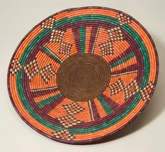 Africa | Basketry lid / food cover from Darfur Sudan; possibly Tama or Fur people | Plant fiber and pigment | ca. 1979 - 1985