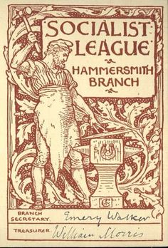 Card for the Hammersmith Socialist League (detail of its vigorous blacksmith illustration), designed by Walter Crane, 1880s. This card belonged to Emery Walker who was the League's secretary, while William Morris served as Treasurer. May Morris shared her father's enthusiasm for social change, was an active member of the League, and took part in meetings and protests | Cheltenham Art Gallery & Museum