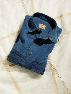 L.E.J Bespoke Shirts, Indigo Colour, Box Pleats, Point Collar, Dungarees, Grosgrain, Handsome, Winter, Casual
