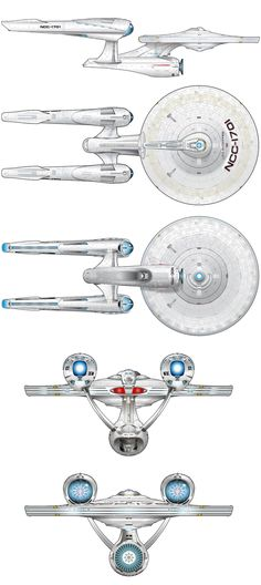 Schematic views of J.J. Abrams' U.S.S. Enterprise NCC-1701. It looks like the lady had a makeover.