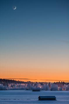 Moon and Venus in the sky met, Siilinjärvi, Finland 2015 Taivaanvahti - Ursan havaintojärjestelmä: Havainnon tiedot Winter Beauty, Landscape Pictures, Sky And Clouds, Walking In Nature, All Over The World, Arctic, Winter Wonderland, Venus, Natural Beauty